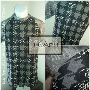 TSAPH Grey houndstooth Lance Tee, Size S M L, New